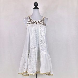 Anthropologie white with gold trim sundress